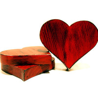 Set of 3 Rustic Wooden Hearts (Pictured in Red Hot) Home Decor Wall Art Pine Wood Sign Wedding Decor Photo Prop Love