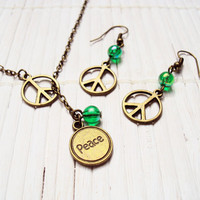 Peace Sign Hippie Jewelry Neckalce and Earrings Set