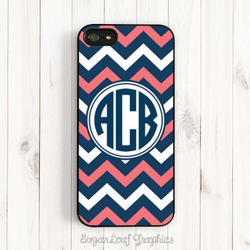Chevron iPhone Case - Personalized Monogram Coral Pink and Navy Blue, Samsung Galaxy S3 S4 Case, iPhone 5C 5s/5 Case iPhone 4/4s Case csc56