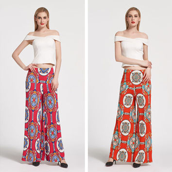 Fashion Retro Ethnic Multicolor Totem Pattern Print Wide Feet Pants Casual Long Pants