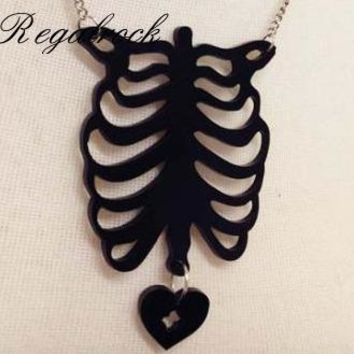 Regalrock Hot Bohemian Anatomical Black Human Rib Cage Boho Lung Maxi Steampunk Anatomy Heart Necklace