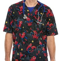 Buy Cherokee Tooniforms Unisex The Amazing Spider-man Printed Scrub Top for $22.45