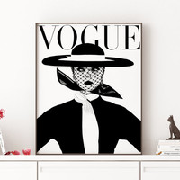 Download Printable Art Retro Poster Modern Wall Art VOGUE PRINT Fashion Poster Digital  Vintage Vogue Cover Fashion wall Art 1950 Edition