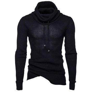 Sweater Pullover Men 2018 Male Brand Casual Slim Sweaters Men Rope Solid Color Hedging Heap Collar Men'S Sweater XXL