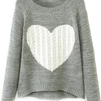 Sweet Heart Raglan Sweater - OASAP.com