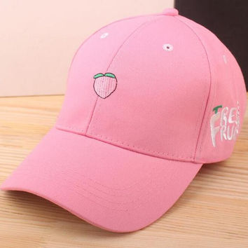 Peach Embroidered Baseball Cap Hat