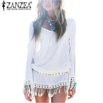 ZANZEA 2017 Summer Bohemian Sexy Women Dress Ladies O-neck Long Sleeve Tassel Chiffon Mini Dresses Casual Loose Beach Vestidos