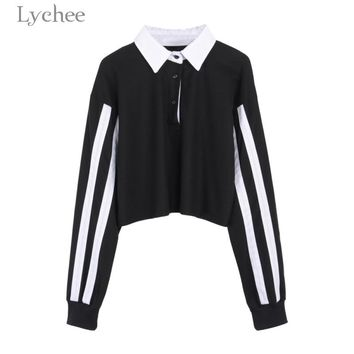 Lychee Spring Autumn Women Crop Top Stripe Patchwork Turn Down Collar Long Sleeve Casual Loose T Shirt Tee Top