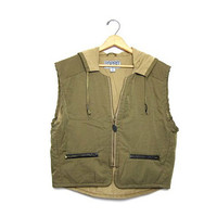 90s Outdoor Vest Coat Cropped Army Green Hooded Vintage Esprit Barn Jacket Boxy Unisex Mens Zip Up Chore Ranch Cargo Womens Medium Large
