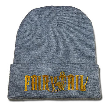BARONL Fairy Tail Anime Logo Beanie Fashion Unisex Embroidery Beanies Skullies Knitted Hats Skull Caps - Grey