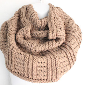 Womens Knitted Scarf, Mocha Chunky Knit Scarf, Knit Infinity Scarf, Infinity Scarf, Oversized Scarf, Hand Knitted Scarf, Poncho