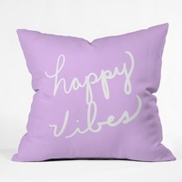 Lisa Argyropoulos Happy Vibes Lavender Throw Pillow