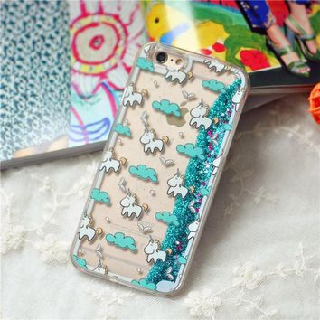 Unique Unicorn Dynamic Liquid Glitter Quicksand Star Hard Phone Case
