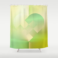 Danish Heart Mint Gold Shower Curtain by Gréta Thórsdóttir  #love #heart #holiday #Christmas #mint #gold #ombre #bathroom