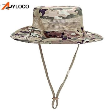 Tactical Caps Military Hunter Fisherman Bucket Hat Camouflage Hat Fishing Hunting Hiking Sun Cap Men Summer Jungle With String