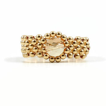 14K Gold Filled Ring Bead Ring Crystal Ring Beaded Band Beadwork Jewelry