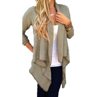 Women Casual Loose Knit Waterfall Cardigan Jacket Long Sleeve Irregular Sweater Coat