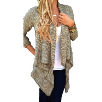 Women Casual Loose Knit Waterfall Cardigan Jacket Long Sleeve Irregular Sweater Coat = 1958322948