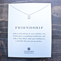 dogearead dainty friendship smooth anchor necklace in sterling silver