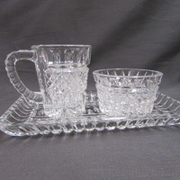 Vintage Crystal Creamer Sugar and Tray Set | Clear Crystal Creamer and Sugar Set Diamonds and Notches