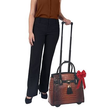 """""""THE BOSTON"""" Brown Alligator Rolling iPad, Tablet or Laptop Tote Briefcase or Carryall Bag"""