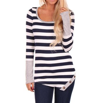 Long-sleeved Striped O-Neck Top