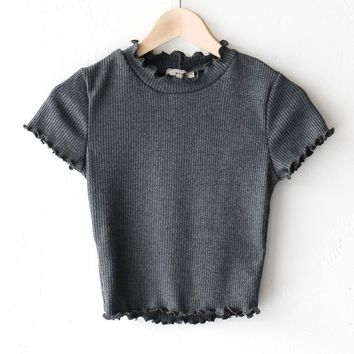 Ribbed Mock Neck Crop Top - Olive