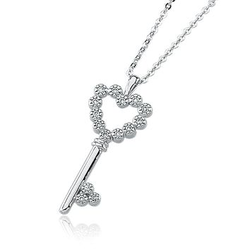 Key to My Heart Diamond Necklace in 14k White Gold