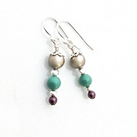 Neutral Earrings, Mint Green, Jade, Vegan, Silver Pearl, Swarovski