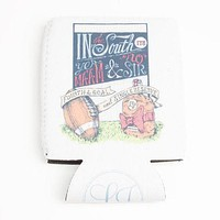 Fourth and Goal Can Holder in White by Lauren James - FINAL SALE