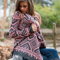 Bull's Eye Cardigan, Coral-Gray