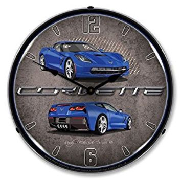 Lighted C7 Corvette Laguna Blue Clock