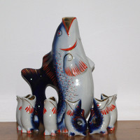 Soviet Blue Fish Drinking Set Vintage porcelain decanter in a shape of FISH and 6 glasses Vodka carafe animal collectible Made in USSR 70's