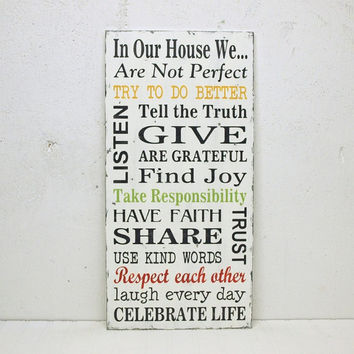 Family Rules Wood Sign Home Decor In Our House We are Not Perfect