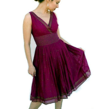 SALE 60's Gorgeous Dress Cotton Plum Golden print CARLYLE pleated Full circle skirt Pin-up Dress