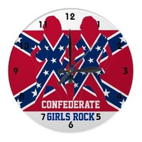 Confederate girls and flag clocks from Zazzle.com