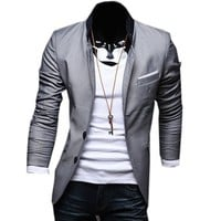 Partiss Mens Pure Color Blazers