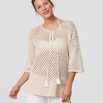 LOFT Beach Lace Up Sweater | LOFT