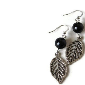 Black Beaded Earrings with Glass Pearls and Leaf Charm on Nickel Free Hooks. Charm Earrings.