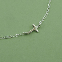 Sideways Cross Necklace - sterling silver christian jewelry - charm necklace - gift
