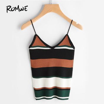 Stripe  Casual Ribbed Cami summer Top