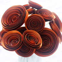12 Copper Paper Flowers - Bouquet - Wedding Decor - Rustic - Fall Decor - Bridal Shower - Home Decor - Gift - Office Decor - Baby Shower