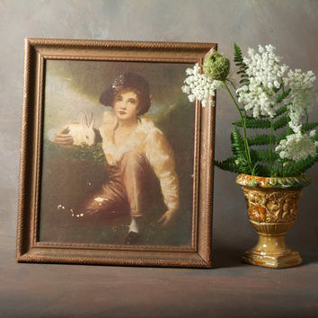 Vintage Framed Print of Boy and Rabbit by Sir Henry Raeburn