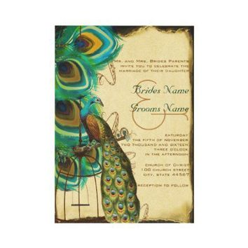 Musical Peacock Birdcage Feather Wedding Invites from Zazzle.com