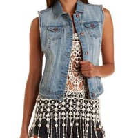 Light Wash Dropped Armhole Denim Vest