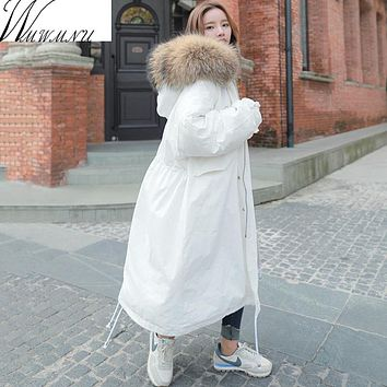 Wmwmnu Winter Coat Women Large Fur Collar Hooded X-Long Jacket Thicken Warm Korean Padded Parkas 2017 Oversized Military Parkas