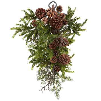 Artificial Flowers -26 Inch Pine And Cone Teardrop Christmas Garland