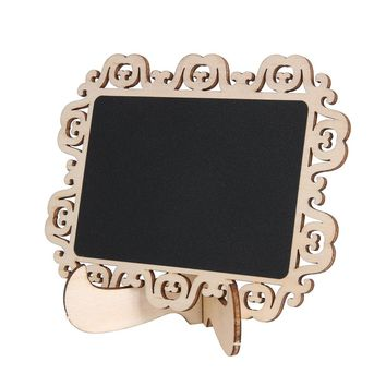 10 PCS Mini Wooden Wood Chalkboard Blackboard On Stick Stand Holder Table Number for Wedding Event Decoration
