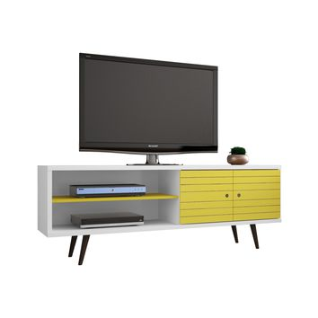 "62.99"" Mid Century - Modern TV Stand w/ 3 Shelves & 2 Doors w/ Solid Wood Legs-White and Yellow"