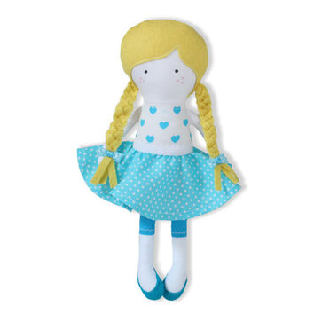 Bunny Cloth Doll Rag Doll Handmade Fashion Doll Soft Doll 12 inches doll with outfit - Blue white dots Cotton Doll Skirt, Bunny hat